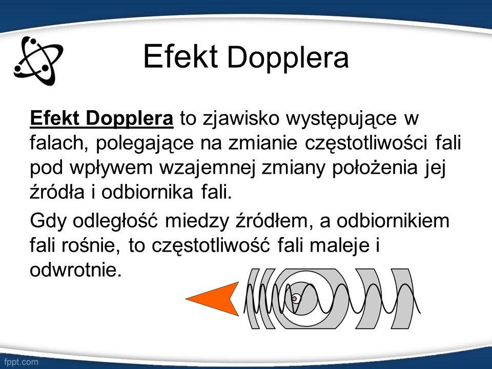 Efekt Dopplera Efekt Dopplera to zjawisko występujące w falach, polegające na zmianie częstotliwości fali pod wpływem wzajemnej zmiany położenia jej ź