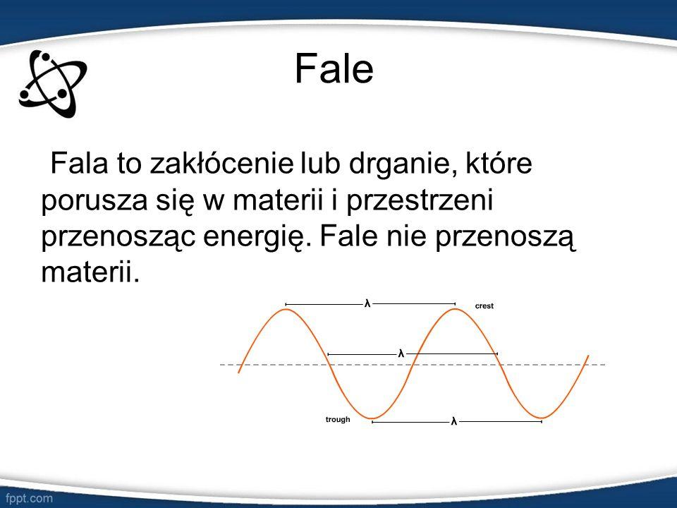 Fale Fala to zakłócenie lub drganie, które porusza się w materii i przestrzeni przenosząc energię. Fale nie przenoszą materii.