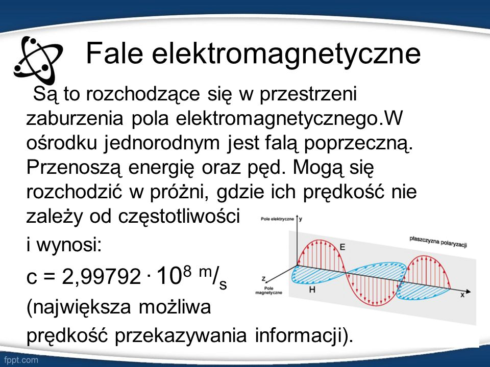 Fale elektromagnetyczne Są to rozchodzące się w przestrzeni zaburzenia pola elektromagnetycznego.W ośrodku jednorodnym jest falą poprzeczną. Przenoszą