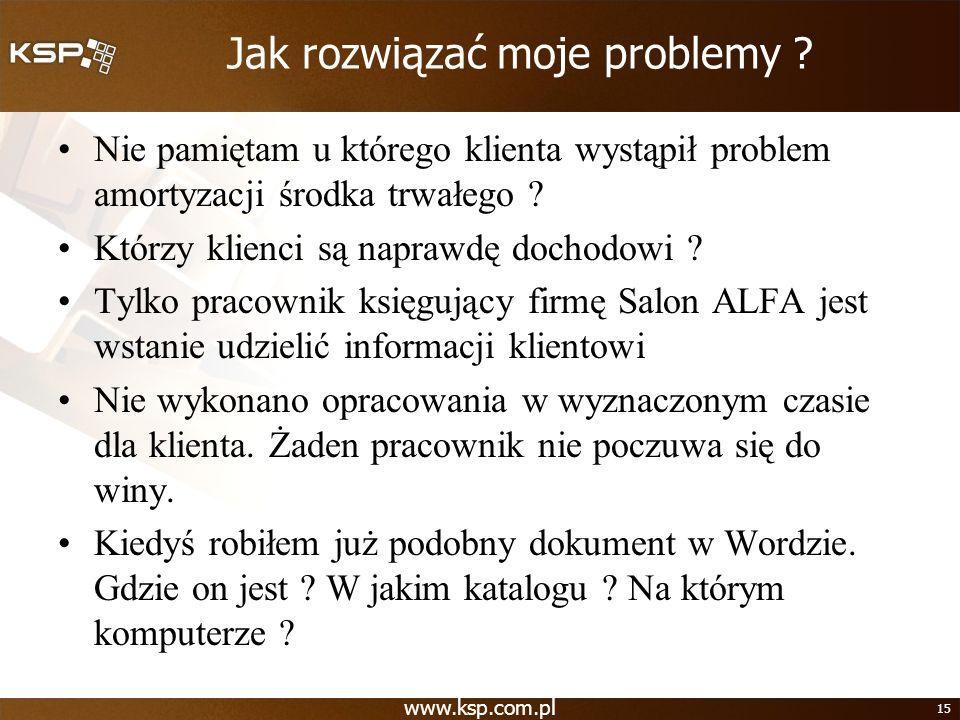 www.ksp.com.pl 15 Jak rozwiązać moje problemy ? Nie pamiętam u którego klienta wystąpił problem amortyzacji środka trwałego ? Którzy klienci są napraw