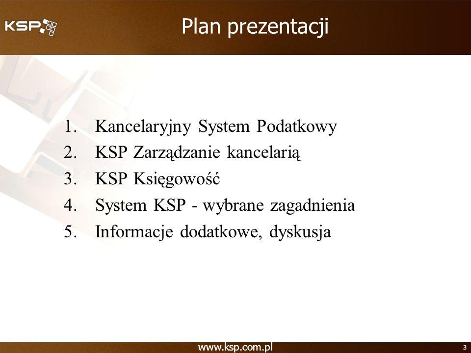 www.ksp.com.pl 3 Plan prezentacji 1.Kancelaryjny System Podatkowy 2.KSP Zarządzanie kancelarią 3.KSP Księgowość 4.System KSP - wybrane zagadnienia 5.I