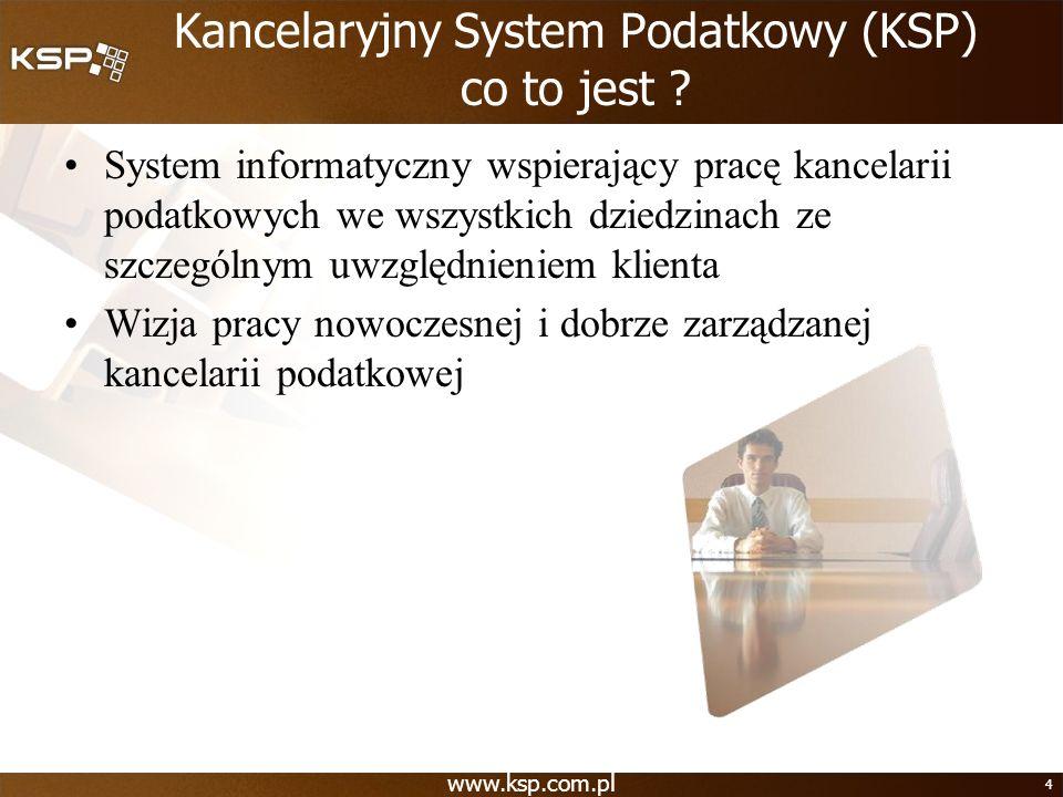 www.ksp.com.pl 4 Kancelaryjny System Podatkowy (KSP) co to jest ? System informatyczny wspierający pracę kancelarii podatkowych we wszystkich dziedzin