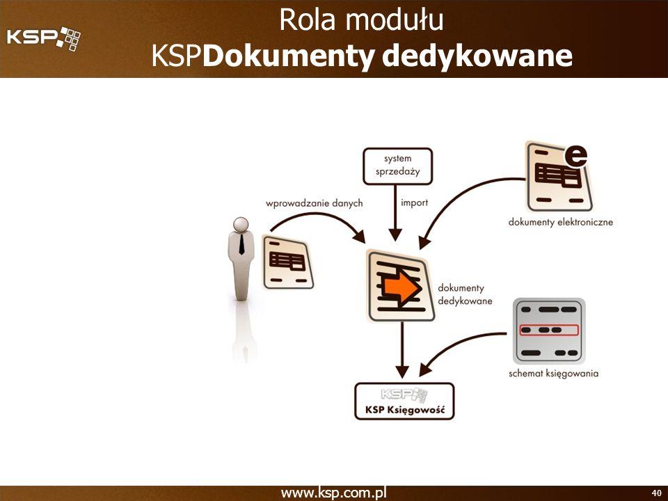 www.ksp.com.pl 40 Rola modułu KSPDokumenty dedykowane