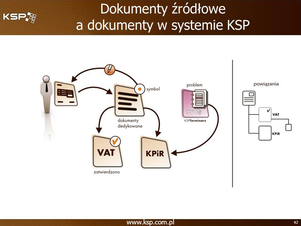 www.ksp.com.pl 42 Dokumenty źródłowe a dokumenty w systemie KSP