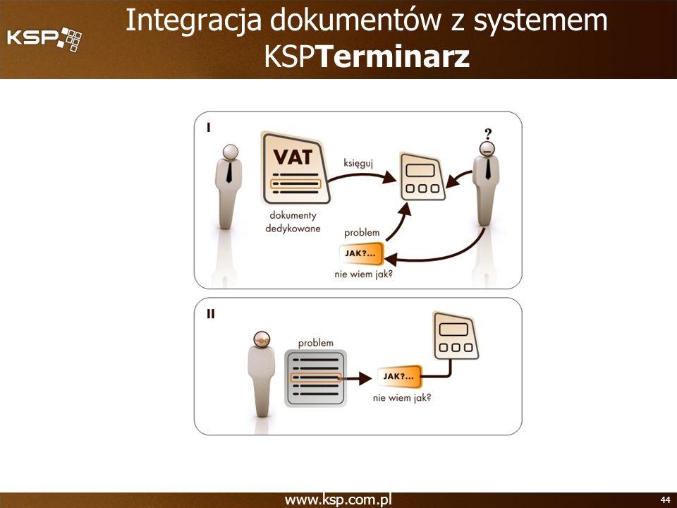 www.ksp.com.pl 44 Integracja dokumentów z systemem KSPTerminarz