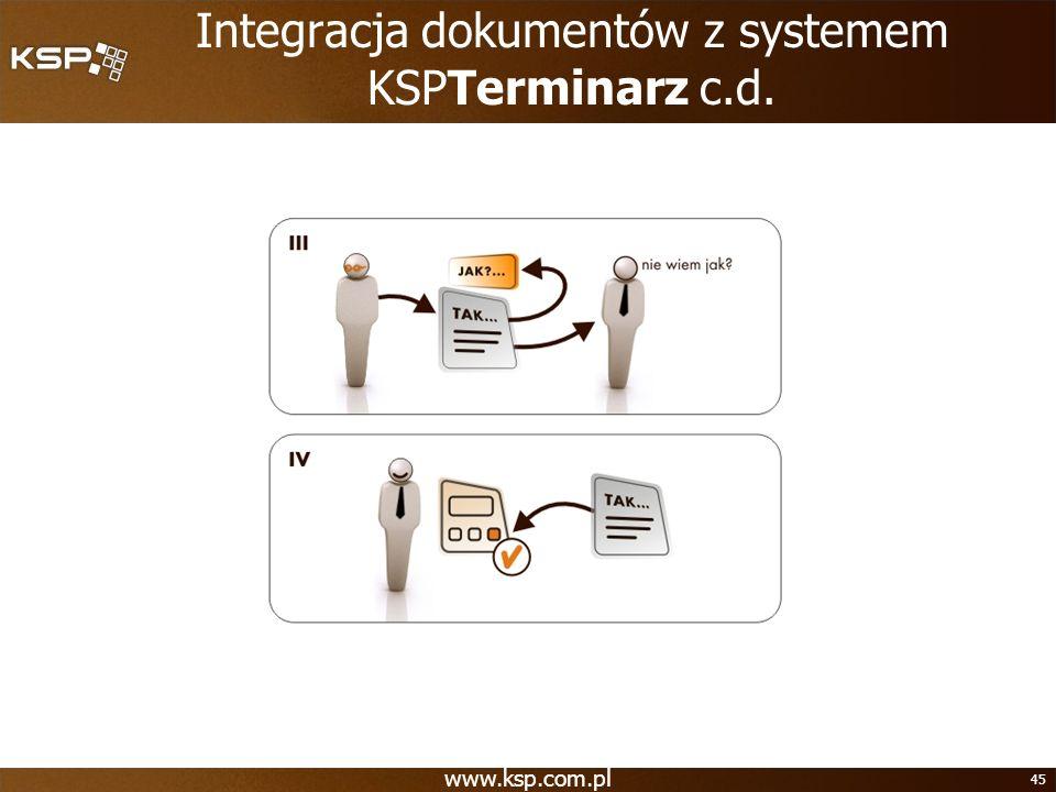 www.ksp.com.pl 45 Integracja dokumentów z systemem KSPTerminarz c.d.