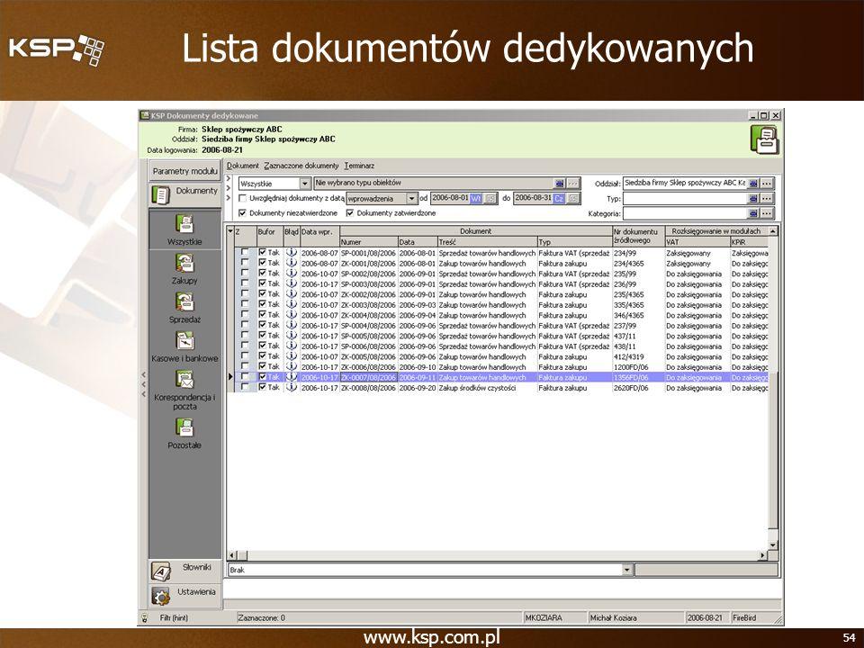 www.ksp.com.pl 54 Lista dokumentów dedykowanych