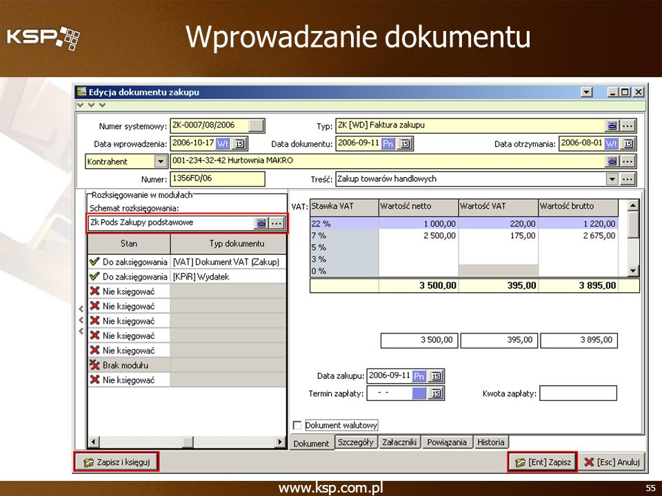 www.ksp.com.pl 55 Wprowadzanie dokumentu