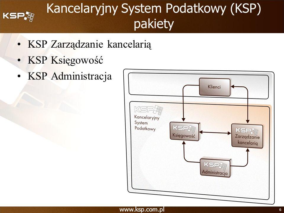 www.ksp.com.pl 6 Kancelaryjny System Podatkowy (KSP) pakiety KSP Zarządzanie kancelarią KSP Księgowość KSP Administracja