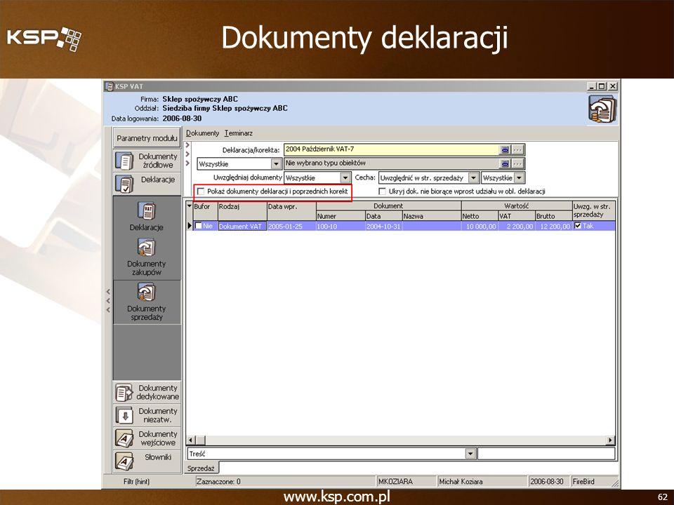 www.ksp.com.pl 62 Dokumenty deklaracji