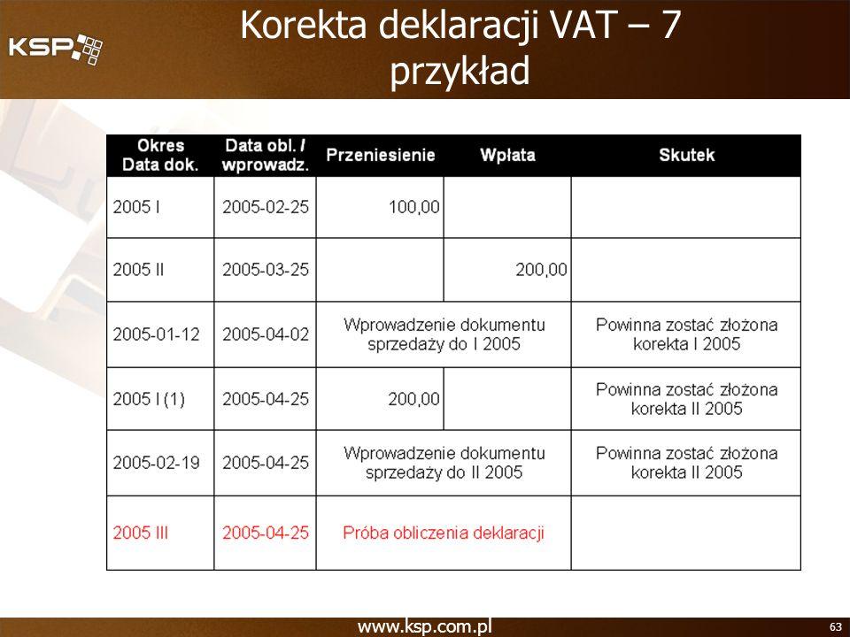 www.ksp.com.pl 63 Korekta deklaracji VAT – 7 przykład