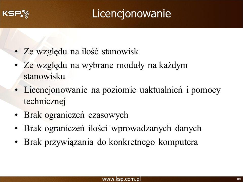 www.ksp.com.pl 89 Licencjonowanie Ze względu na ilość stanowisk Ze względu na wybrane moduły na każdym stanowisku Licencjonowanie na poziomie uaktualn
