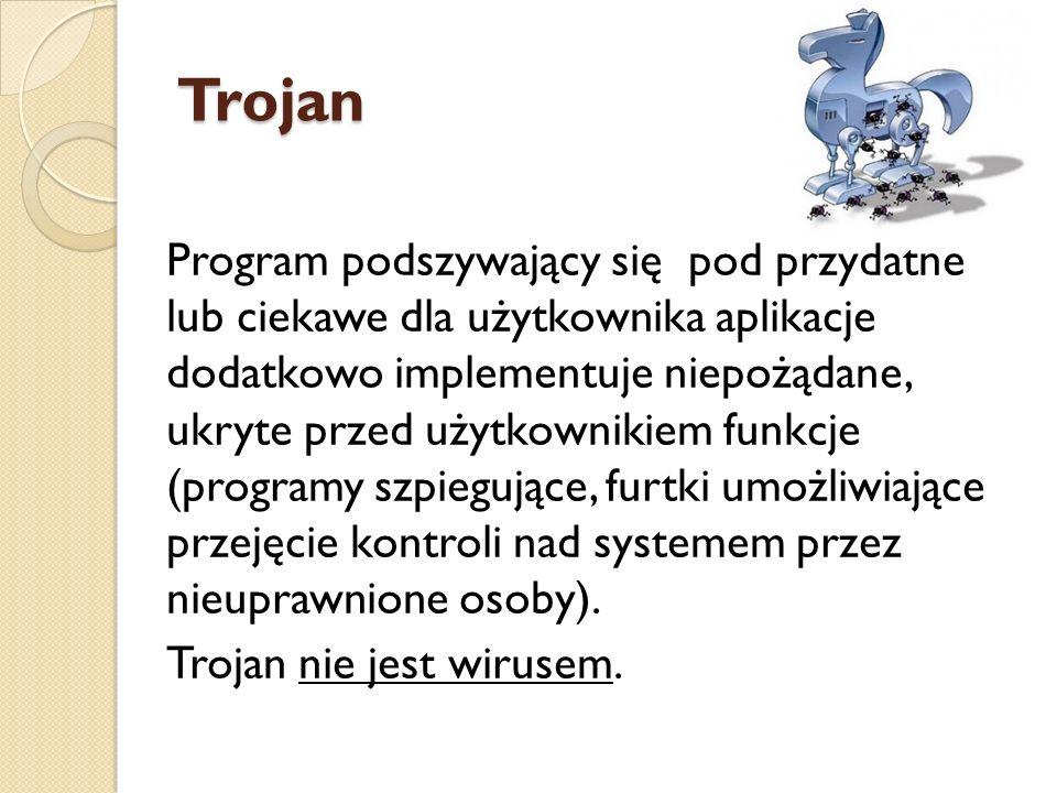 Trojan Program podszywający się pod przydatne lub ciekawe dla użytkownika aplikacje dodatkowo implementuje niepożądane, ukryte przed użytkownikiem fun