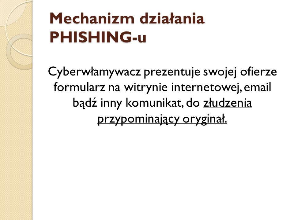 Mechanizm działania PHISHING-u Cyberwłamywacz prezentuje swojej ofierze formularz na witrynie internetowej, email bądź inny komunikat, do złudzenia pr