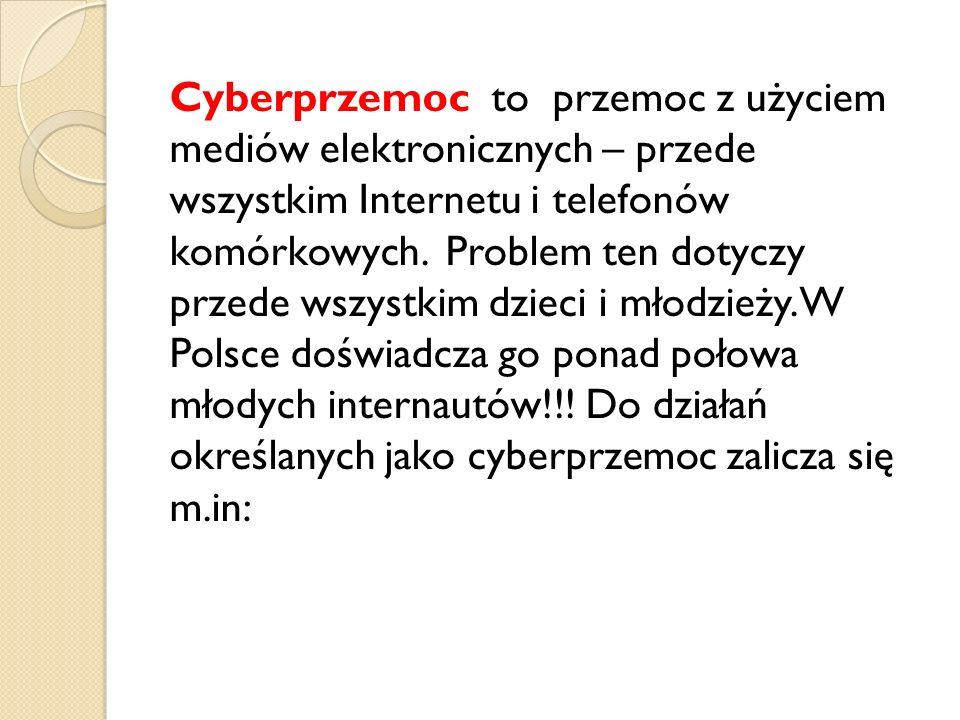 Cyberprzemoc to przemoc z użyciem mediów elektronicznych – przede wszystkim Internetu i telefonów komórkowych. Problem ten dotyczy przede wszystkim dz