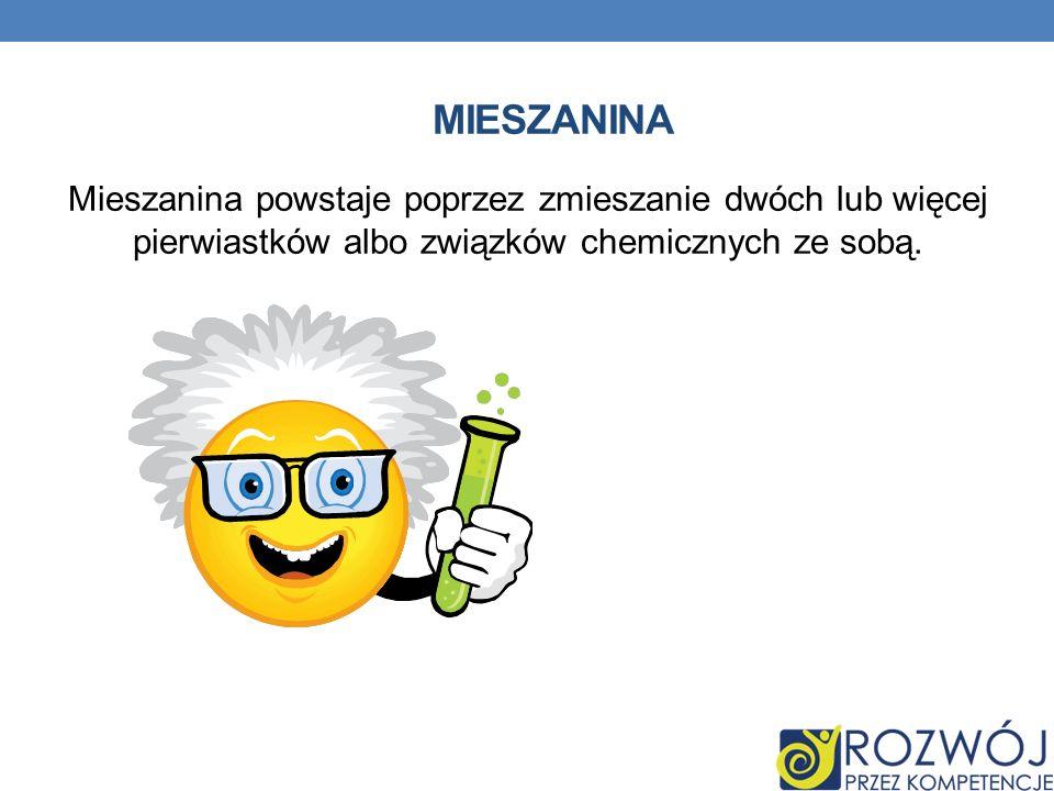 MIESZANINA Mieszanina powstaje poprzez zmieszanie dwóch lub więcej pierwiastków albo związków chemicznych ze sobą.
