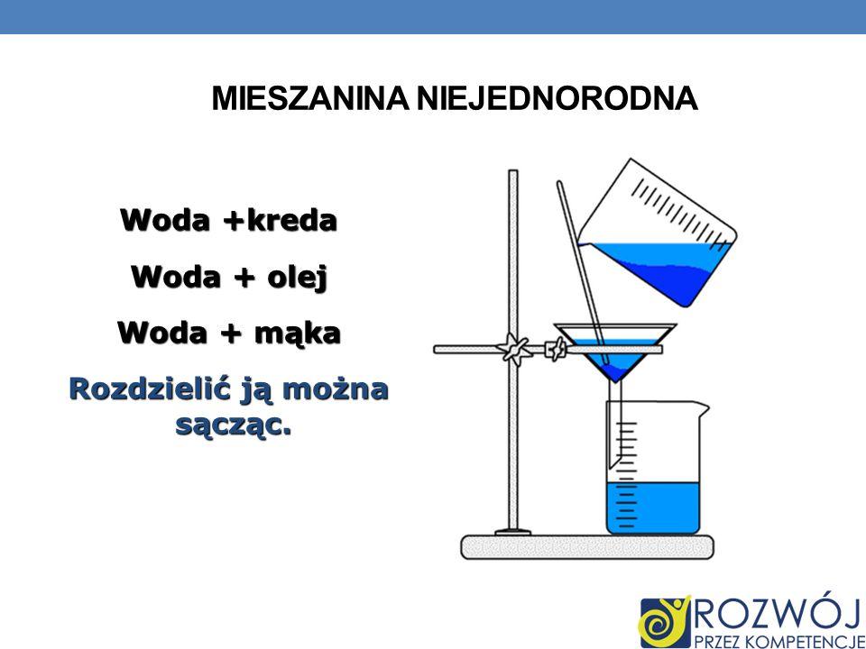 MIESZANINA NIEJEDNORODNA Woda +kreda Woda + olej Woda + mąka Rozdzielić ją można sącząc.