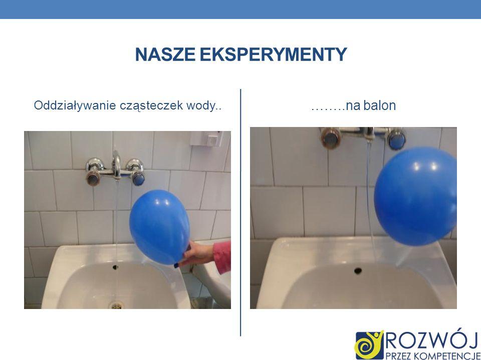 NASZE EKSPERYMENTY Oddziaływanie cząsteczek wody.. ……..na balon