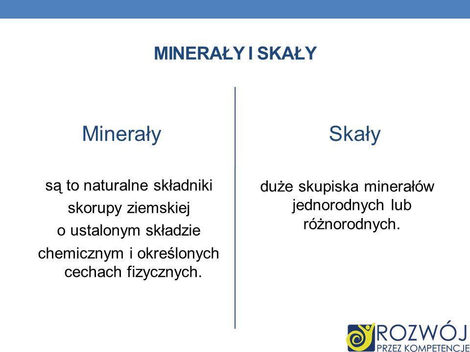 MINERAŁY I SKAŁY Minerały są to naturalne składniki skorupy ziemskiej o ustalonym składzie chemicznym i określonych cechach fizycznych. Skały duże sku