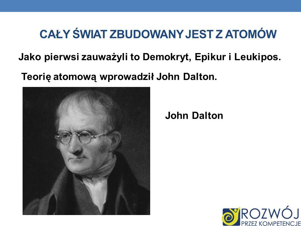 CAŁY ŚWIAT ZBUDOWANY JEST Z ATOMÓW Jako pierwsi zauważyli to Demokryt, Epikur i Leukipos. Teorię atomową wprowadził John Dalton. John Dalton