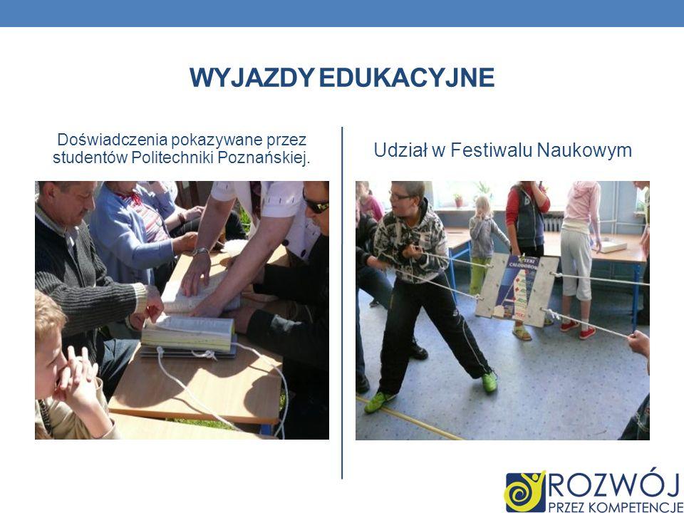WYJAZDY EDUKACYJNE Doświadczenia pokazywane przez studentów Politechniki Poznańskiej. Udział w Festiwalu Naukowym
