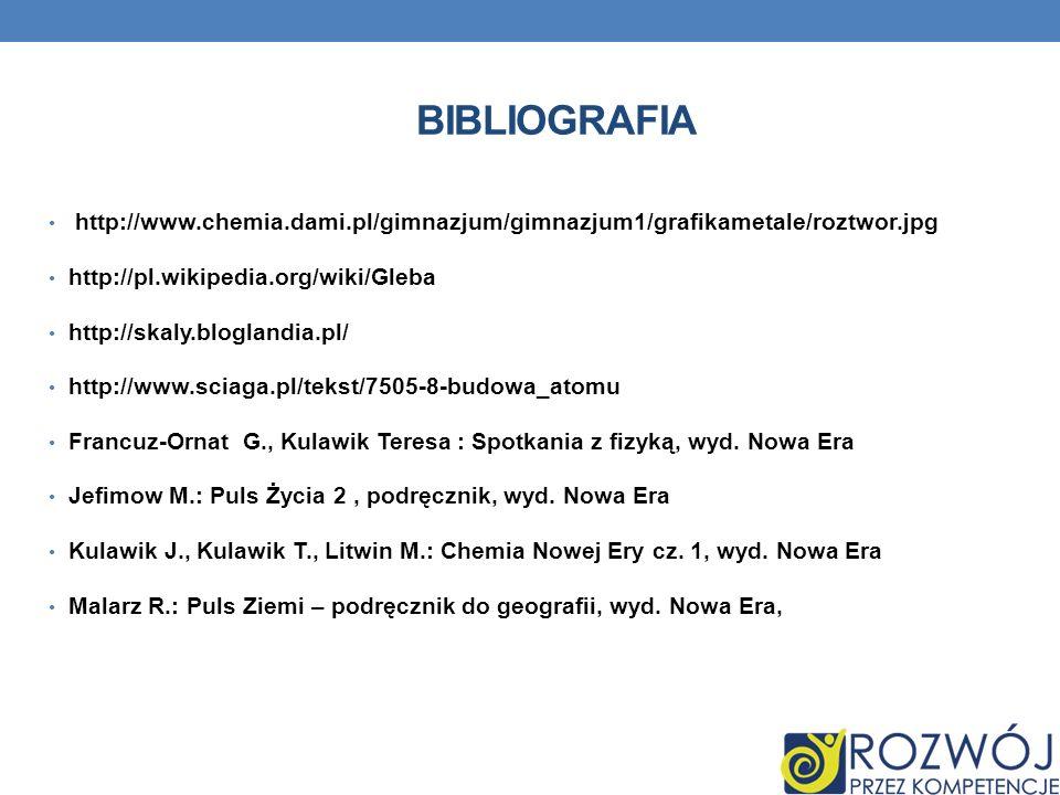 BIBLIOGRAFIA http://www.chemia.dami.pl/gimnazjum/gimnazjum1/grafikametale/roztwor.jpg http://pl.wikipedia.org/wiki/Gleba http://skaly.bloglandia.pl/ h