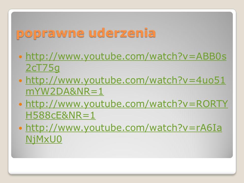 poprawne uderzenia http://www.youtube.com/watch?v=ABB0s 2cT75g http://www.youtube.com/watch?v=ABB0s 2cT75g http://www.youtube.com/watch?v=4uo51 mYW2DA
