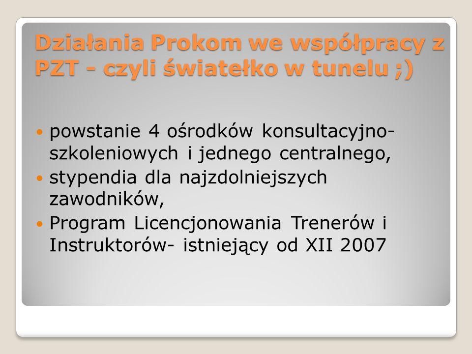 Działania Prokom we współpracy z PZT - czyli światełko w tunelu ;) powstanie 4 ośrodków konsultacyjno- szkoleniowych i jednego centralnego, stypendia