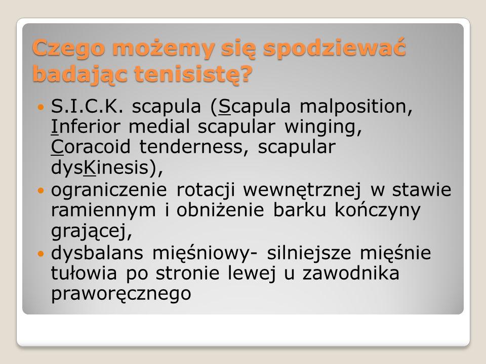 Czego możemy się spodziewać badając tenisistę? S.I.C.K. scapula (Scapula malposition, Inferior medial scapular winging, Coracoid tenderness, scapular