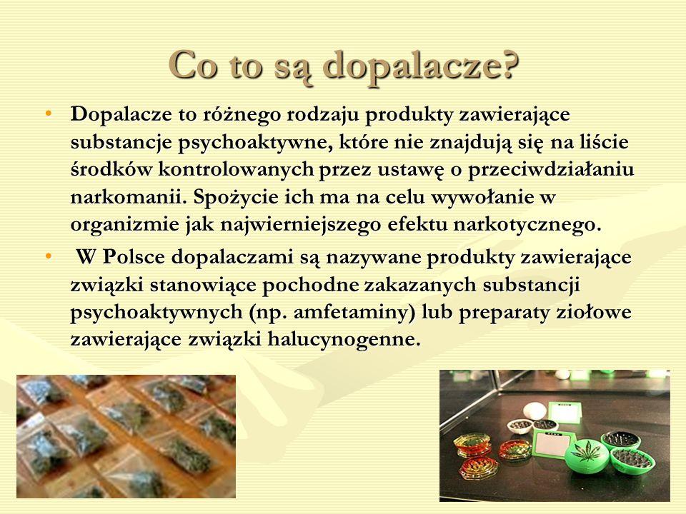 Co to są dopalacze? Dopalacze to różnego rodzaju produkty zawierające substancje psychoaktywne, które nie znajdują się na liście środków kontrolowanyc