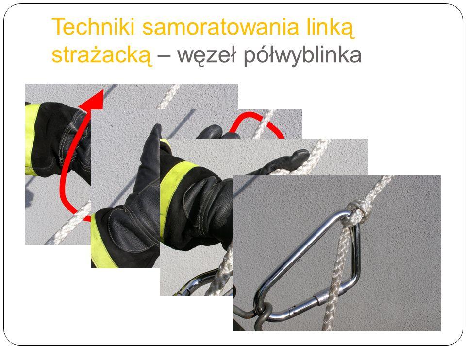 Techniki samoratowania linką strażacką – węzeł półwyblinka