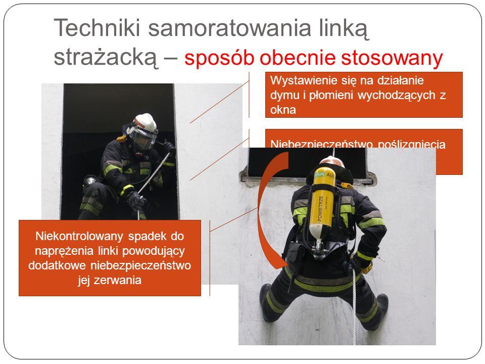 Techniki samoratowania linką strażacką – sposób obecnie stosowany Wystawienie się na działanie dymu i płomieni wychodzących z okna Niebezpieczeństwo p