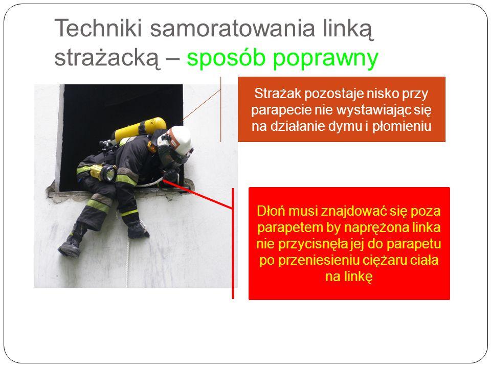 Techniki samoratowania linką strażacką – sposób poprawny Strażak pozostaje nisko przy parapecie nie wystawiając się na działanie dymu i płomieniu Dłoń