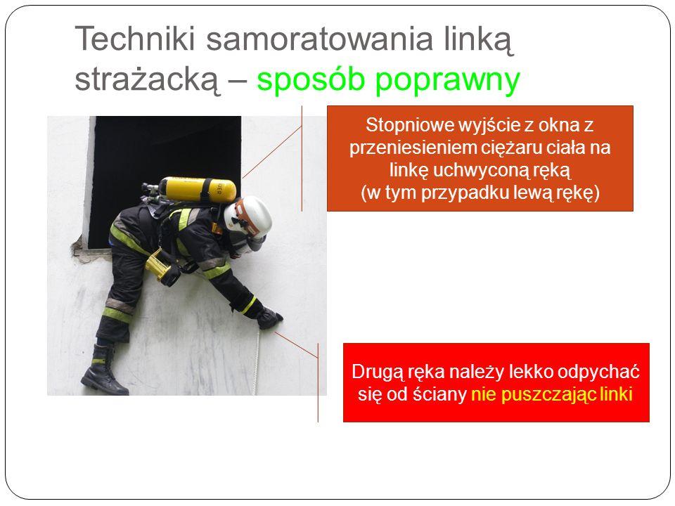 Techniki samoratowania linką strażacką – sposób poprawny Stopniowe wyjście z okna z przeniesieniem ciężaru ciała na linkę uchwyconą ręką (w tym przypa