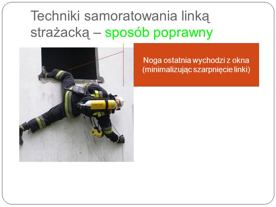 Techniki samoratowania linką strażacką – sposób poprawny Noga ostatnia wychodzi z okna (minimalizując szarpnięcie linki)