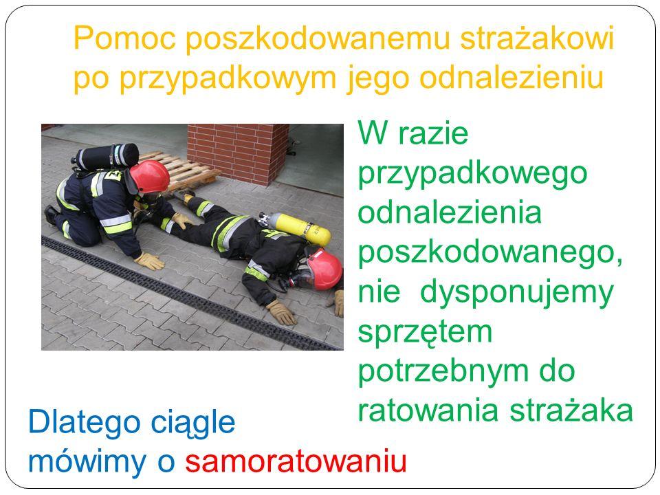 W razie przypadkowego odnalezienia poszkodowanego, nie dysponujemy sprzętem potrzebnym do ratowania strażaka Dlatego ciągle mówimy o samoratowaniu