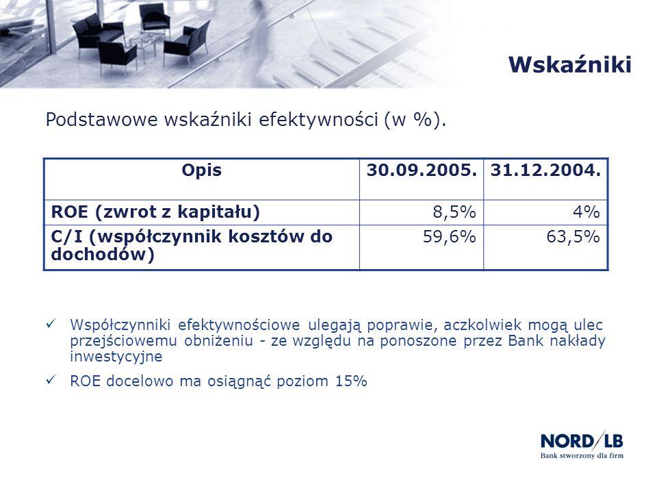 Wskaźniki Podstawowe wskaźniki efektywności (w %). Opis30.09.2005.31.12.2004. ROE (zwrot z kapitału)8,5%4% C/I (współczynnik kosztów do dochodów) 59,6