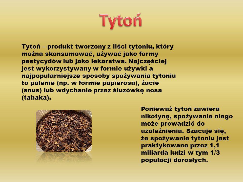 Tytoń – produkt tworzony z liści tytoniu, który można skonsumować, używać jako formy pestycydów lub jako lekarstwa.