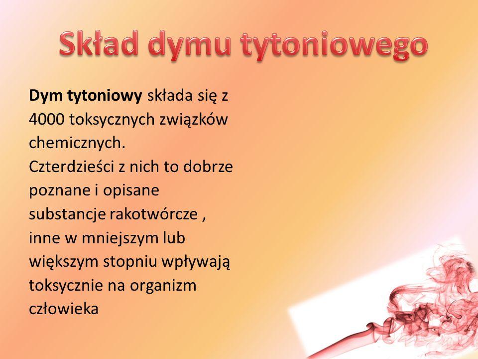 Dym tytoniowy składa się z 4000 toksycznych związków chemicznych.
