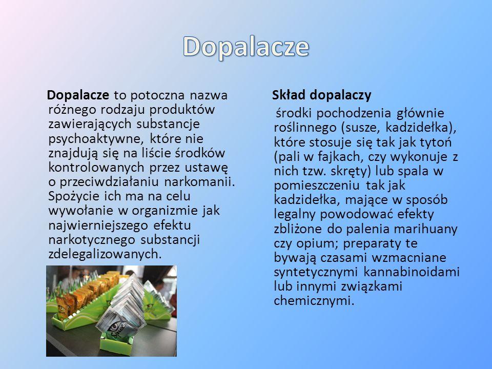 Dopalacze to potoczna nazwa różnego rodzaju produktów zawierających substancje psychoaktywne, które nie znajdują się na liście środków kontrolowanych przez ustawę o przeciwdziałaniu narkomanii.