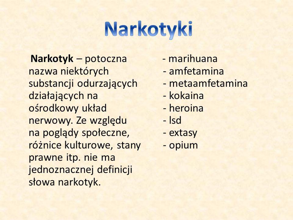 Narkotyk – potoczna nazwa niektórych substancji odurzających działających na ośrodkowy układ nerwowy.