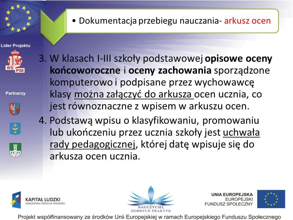 Dokumentacja przebiegu nauczania- arkusz ocen 3.