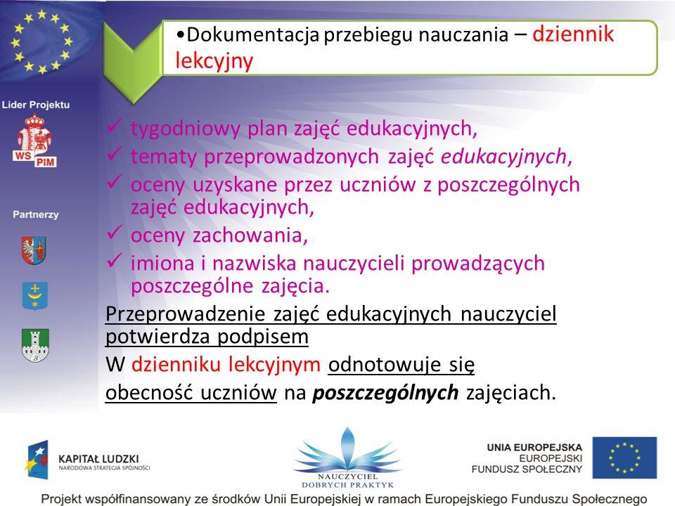 Dokumentacja przebiegu nauczania- dziennik pedagoga § 18.