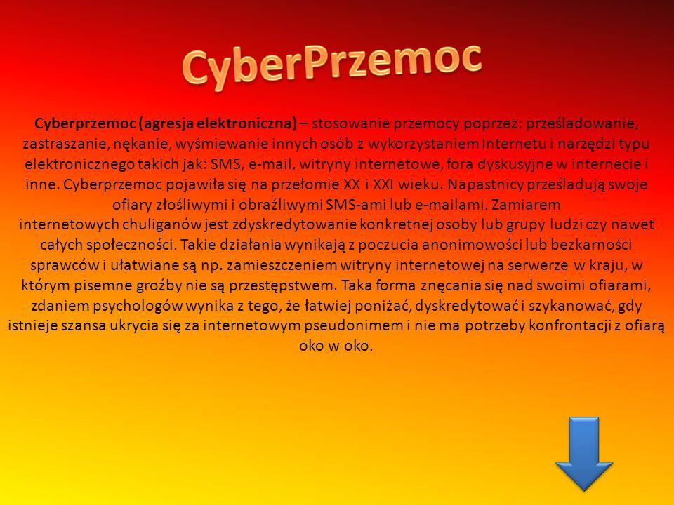 Jednym z przejawów cyberbullying jest także tworzenie anty stron internetowych, np.