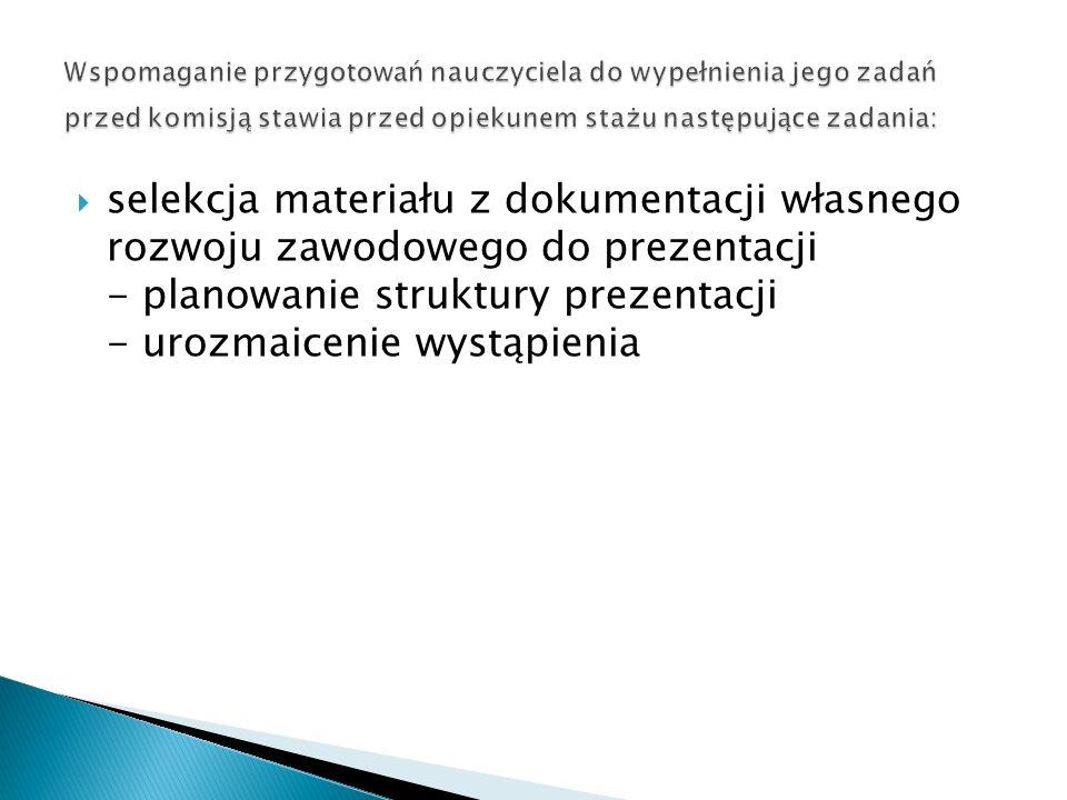 selekcja materiału z dokumentacji własnego rozwoju zawodowego do prezentacji - planowanie struktury prezentacji - urozmaicenie wystąpienia