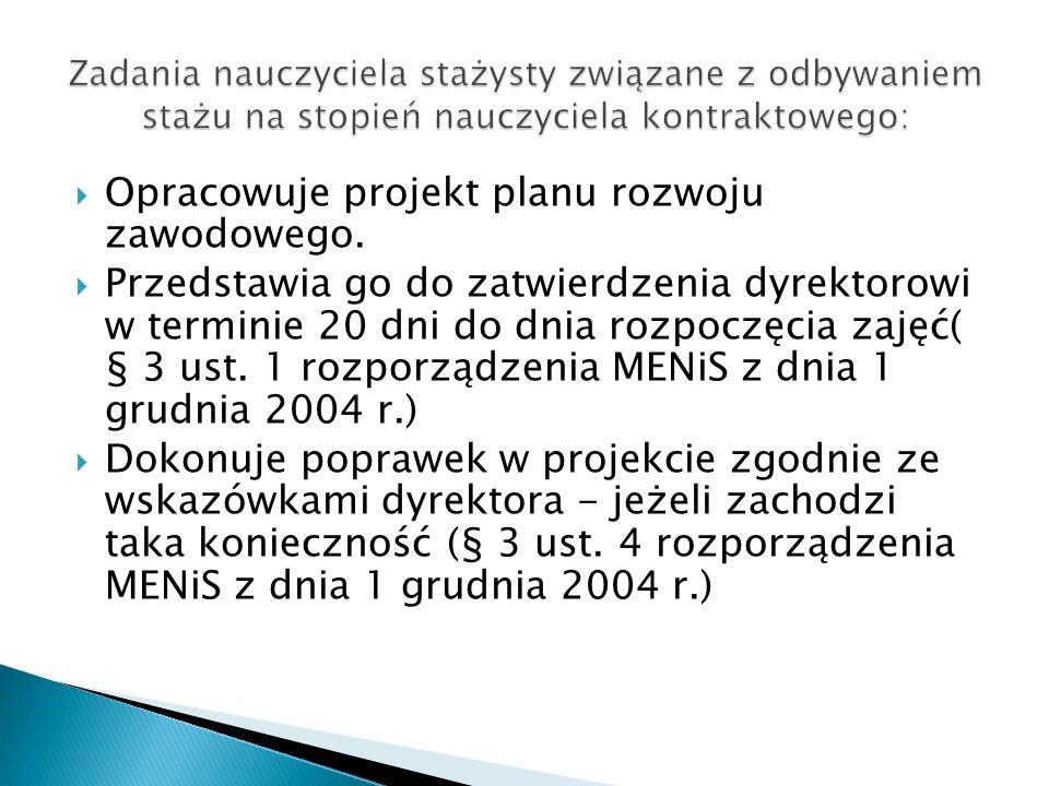 Opracowuje projekt planu rozwoju zawodowego. Przedstawia go do zatwierdzenia dyrektorowi w terminie 20 dni do dnia rozpoczęcia zajęć( § 3 ust. 1 rozpo