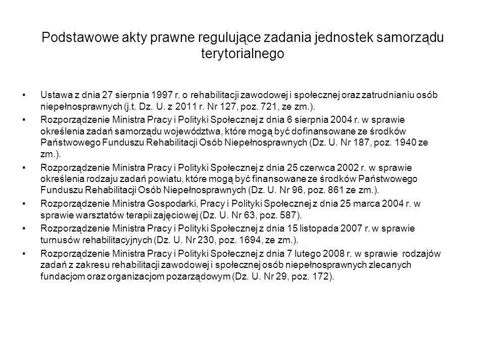 Podstawowe akty prawne regulujące zadania jednostek samorządu terytorialnego Ustawa z dnia 27 sierpnia 1997 r. o rehabilitacji zawodowej i społecznej