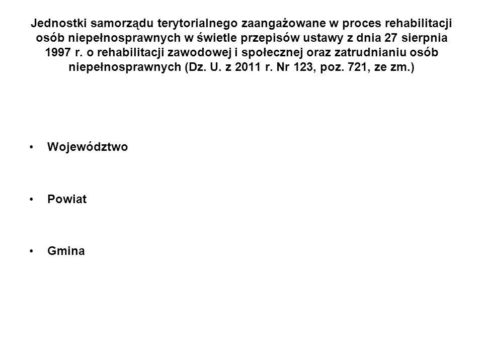 Jednostki samorządu terytorialnego zaangażowane w proces rehabilitacji osób niepełnosprawnych w świetle przepisów ustawy z dnia 27 sierpnia 1997 r. o