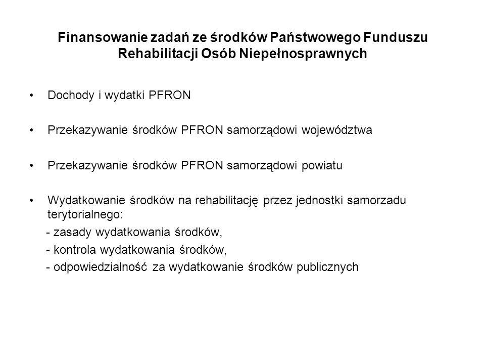 Finansowanie zadań ze środków Państwowego Funduszu Rehabilitacji Osób Niepełnosprawnych Dochody i wydatki PFRON Przekazywanie środków PFRON samorządow