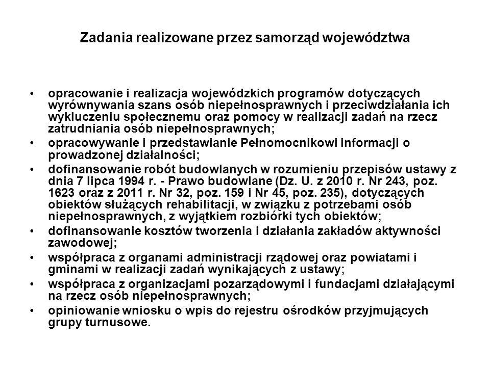 Zadania realizowane przez samorząd województwa opracowanie i realizacja wojewódzkich programów dotyczących wyrównywania szans osób niepełnosprawnych i